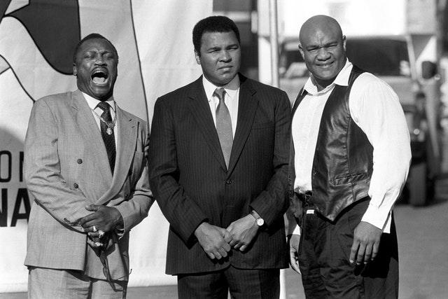 Joe Frazier, Muhammad Ali and George Foreman (left to right) were involved in some high-profile bouts during their careers (PA)