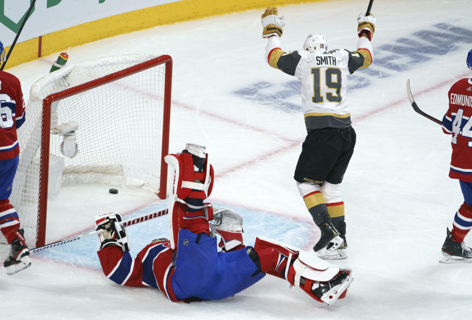 Vegas Golden Knights' Reilly Smith (19) celebrates his goal past Montreal Canadiens goaltender Carey Price during the first period in Game 6 of an NHL hockey Stanley Cup semifinal playoff series Thursday, June 24, 2021 in Montreal. (Paul Chiasson/The Canadian Press via AP)