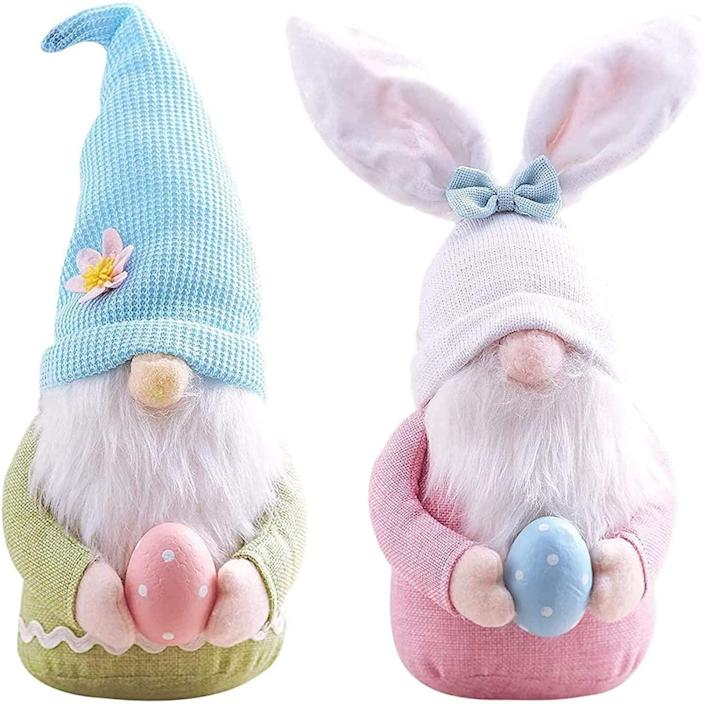 <p>How adorable are these <span>Gnome Bunnies with Easter Egg (2)</span> ($14)!? These will look cute as an accent piece on a side table or on your front porch.</p>
