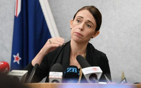 New Zealand Prime Minister Jacinda Ardern speaks to the media in Christchurch - Credit: Getty