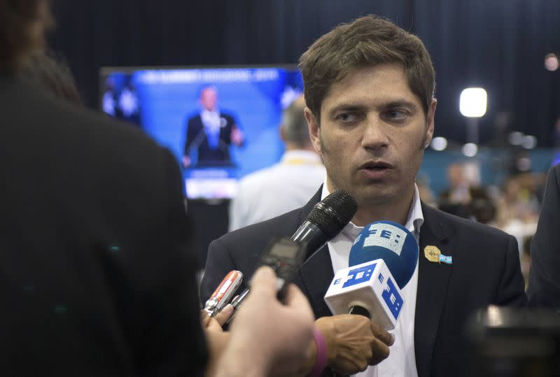 Argentina's Economy Minister Axel Kicillof speaks to members of the media after the G20 summit in Brisbane