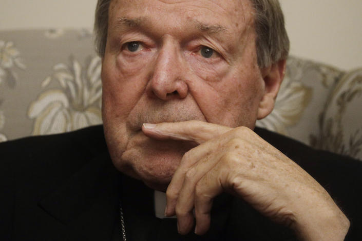 Cardinal George Pell ponders a question during an interview with the Associated Press inside his residence near the Vatican in Rome, Monday, Nov. 30, 2020. The pope's former treasurer, who was convicted and then acquitted of sexual abuse in his native Australia, said Monday he feels a dismayed sense of vindication as the financial mismanagement he tried to uncover in the Holy See is now being exposed in a spiraling Vatican corruption investigation. (AP Photo/Gregorio Borgia)