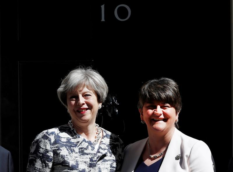 DUP leader Arlene Foster back in Downing St to conclude pact talks
