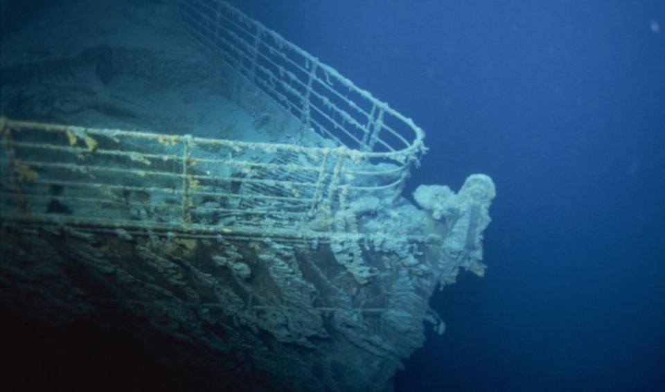 The bow of the Titanic, taken during an expedition in 1996 (Getty)