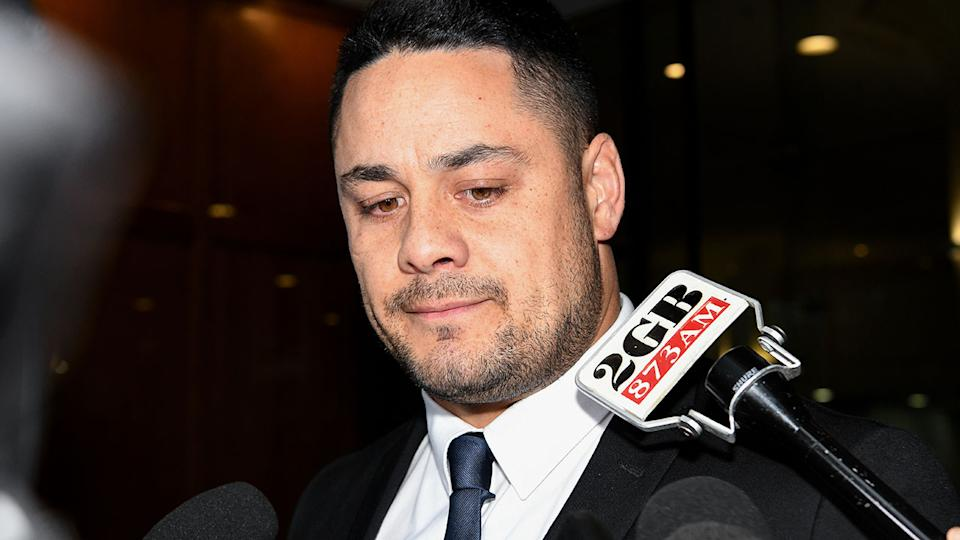 Jarryd Hayne, pictured here speaking to the media outside Downing Centre District Court.