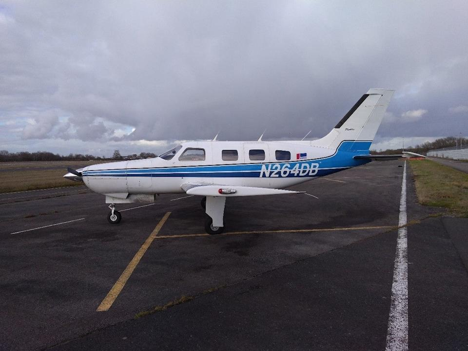 Undated handout file photo issued by the Air Accidents Investigation Branch of the Piper Malibu aircraft, N264DB, on the ground at Nantes Airport, France, prior to the flight which crashed into the ChannelPA
