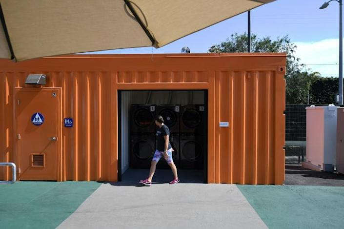 In some ways, the tiny home villages in Los Angeles, like this one in the Tarzana neighborhood, have the feel of a campground