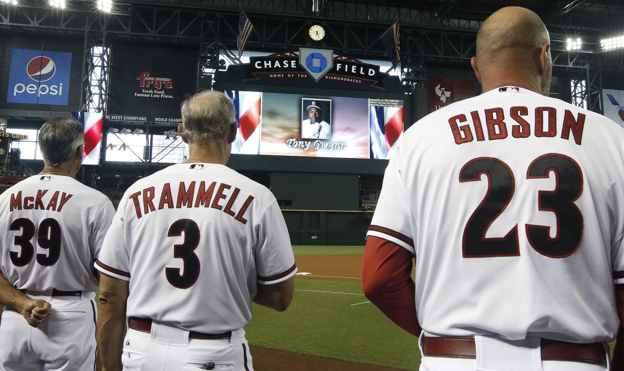 Arizona Diamondbacks' Kirk Gibson (23), Alan Trammell (3) and Dave McKay (39) pause for a moment of silence for Tony Gwynn, the Hall of Fame baseball player, who passed away at age 54 prior to a baseball game against the Milwaukee Brewers on Monday, June 16, 2014, in Phoenix. (AP Photo/Ross D. Franklin)