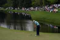 Jordan Spieth putts on the 16th green during the second round of the Masters golf tournament on Friday, April 9, 2021, in Augusta, Ga. (AP Photo/Matt Slocum)