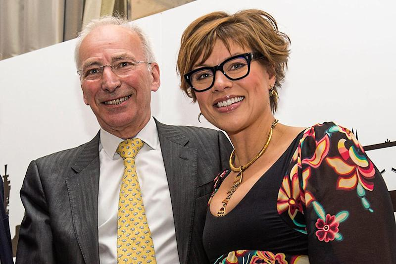 Winner: Anthony Hilton with awards host Kate Silverton: Lucy Young