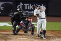 New York Yankees' DJ LeMahieu hits a home run during the sixth inning of a baseball game against the Washington Nationals, Friday, May 7, 2021, in New York. (AP Photo/Frank Franklin II)