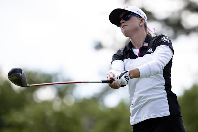 Paula Creamer watches her tee shot on the seventh hole during the the first round of the Marathon Classic LPGA golf tournament at Highland Meadows Golf Club in Sylvania, Ohio, Thursday, July 17, 2014. (AP Photo/Rick Osentoski)
