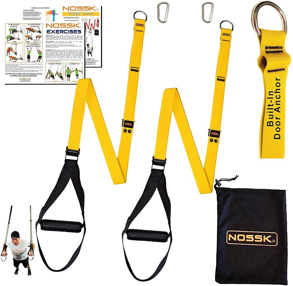 """<p>Like a TRX, these <span>Nossk Twin Pro Bodyweight Fitness Strap Trainer</span> ($48) are just what you need for upper body, leg, and core exercises like <a href=""""https://www.popsugar.com/fitness/How-Do-TRX-Deltoid-Fly-45165329"""" class=""""link rapid-noclick-resp"""" rel=""""nofollow noopener"""" target=""""_blank"""" data-ylk=""""slk:deltoid flies"""">deltoid flies</a>, <a href=""""https://www.popsugar.com/fitness/How-Do-TRX-Pistol-Squat-45585287"""" class=""""link rapid-noclick-resp"""" rel=""""nofollow noopener"""" target=""""_blank"""" data-ylk=""""slk:pistol squats"""">pistol squats</a>, and <a href=""""https://www.popsugar.com/fitness/How-Do-TRX-Pikes-44906436"""" class=""""link rapid-noclick-resp"""" rel=""""nofollow noopener"""" target=""""_blank"""" data-ylk=""""slk:pikes"""">pikes</a>. They'll take bodyweight exercises up a notch. </p>"""