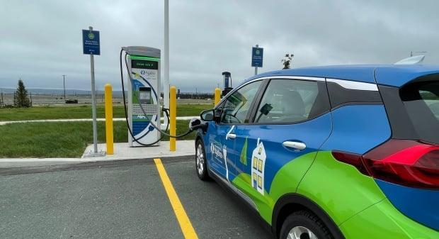 An electric car plugged into the Galway charging station. The island-wide network is officially online as of August 2021. (Lukas Wall/CBC - image credit)