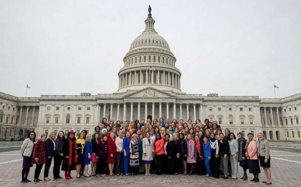 PHOTO: House Speaker Nancy Pelosi of Calif., center, poses with all House Democratic women members of the 116th Congress on the East Front Capitol Plaza on Capitol Hill in Washington, Jan. 4, 2019, as the 116th Congress begins. (Andrew Harnik/AP)