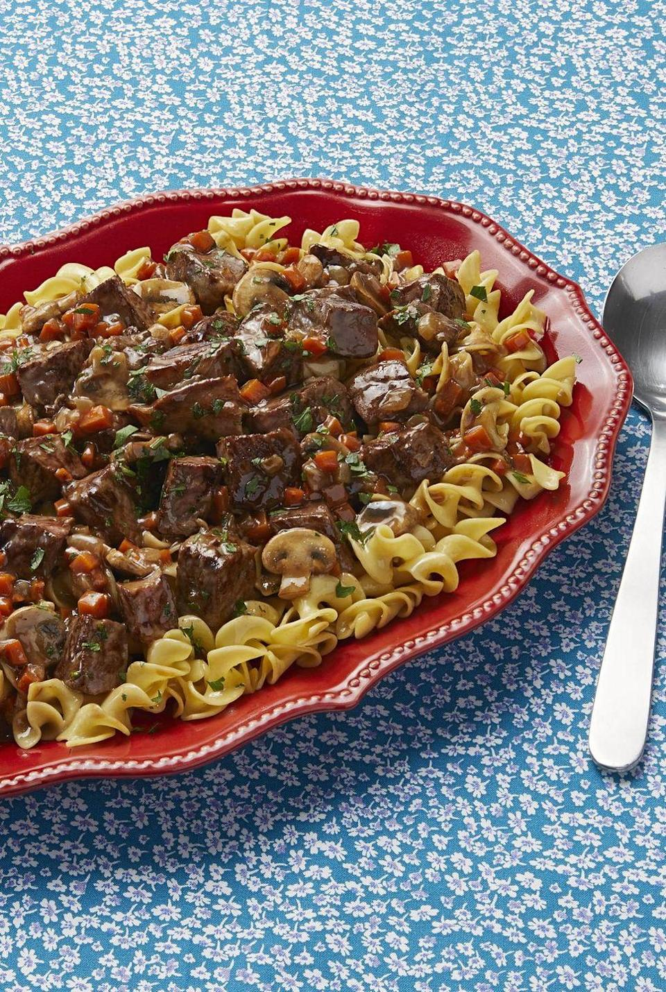 """<p>No list of top comfort foods is complete without this incredible Beef Stroganoff recipe. It's one of Ree's favorite things on earth.</p><p><strong><a href=""""https://www.thepioneerwoman.com/food-cooking/recipes/a83612/beef-stroganoff/"""" rel=""""nofollow noopener"""" target=""""_blank"""" data-ylk=""""slk:Get the recipe."""" class=""""link rapid-noclick-resp"""">Get the recipe.</a></strong> </p>"""