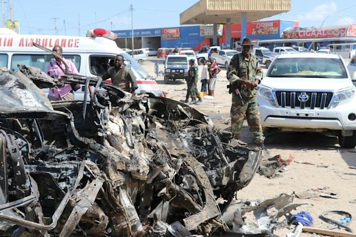 Eighty-one people were killed when a Shebab car bomb detonated at a busy checkpoint in Mogadishu on December 28, 2019 (AFP Photo/Abdirazak Hussein FARAH)