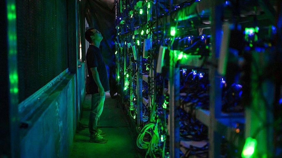 Man staring at CPUs in Chinese bitcoin mine.