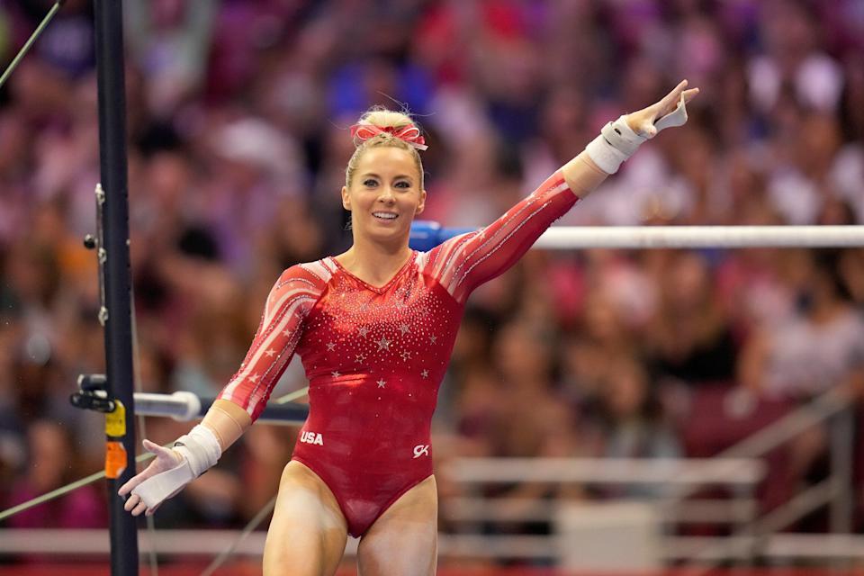 MyKayla Skinner smiles after competing on the uneven bars during the women's U.S. Olympic Gymnastics Trials Friday.