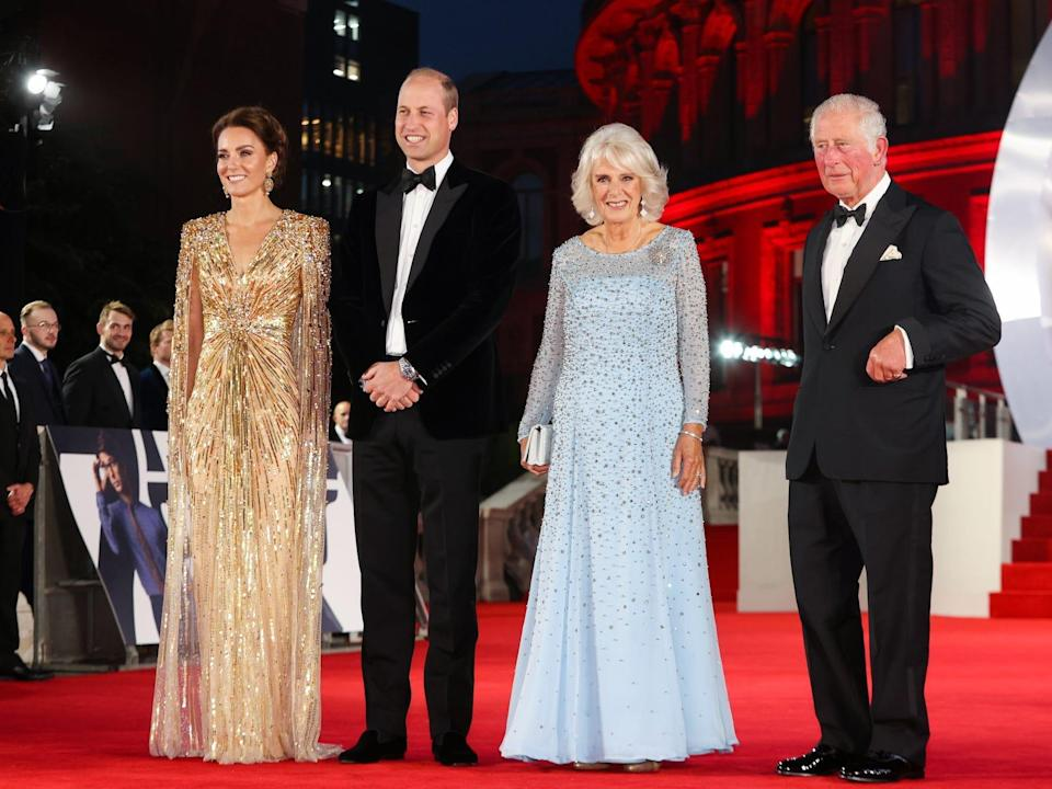 """The British royals at the """"No Time to Die"""" premiere."""