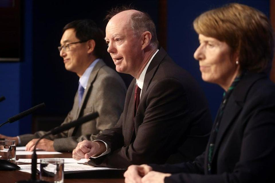 Professor Wei Shen Lim, Chris Whitty, and Dr June Raine speak to the media (Hannah McKay/PA) (PA Wire)