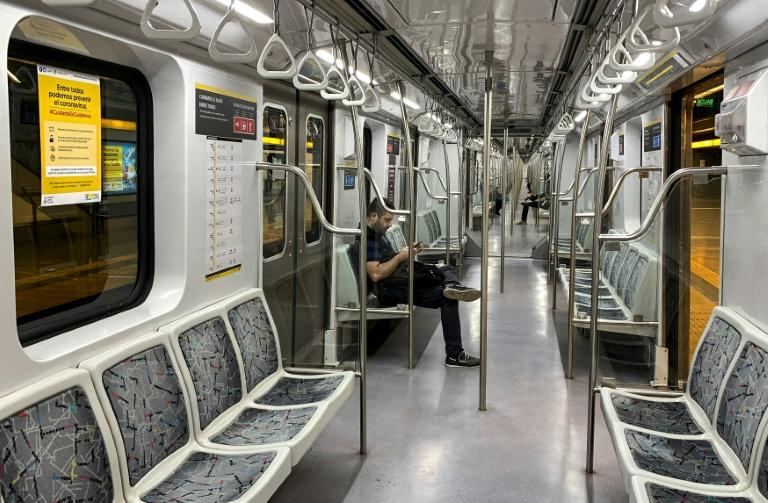 A man rides an empty subway in Buenos Aires