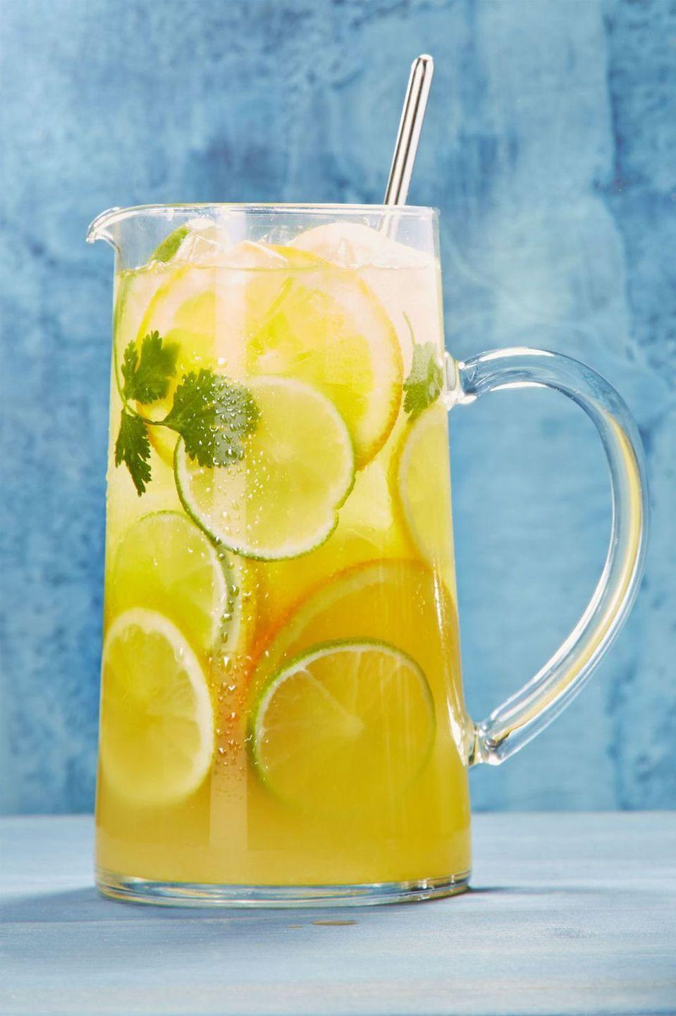 """<p>Make a pitcher of this orange, lemon, and lime boozy drink, and see how long it lasts. Hint: It won't be long. </p><p><em><a href=""""https://www.goodhousekeeping.com/food-recipes/a44204/citrusy-white-sangria-margarita-recipe/"""" rel=""""nofollow noopener"""" target=""""_blank"""" data-ylk=""""slk:Get the recipe for Citrusy White Sangria Margarita »"""" class=""""link rapid-noclick-resp"""">Get the recipe for Citrusy White Sangria Margarita »</a></em></p><p><strong>RELATED:</strong> <a href=""""https://www.goodhousekeeping.com/holidays/g3483/memorial-day-desserts/"""" rel=""""nofollow noopener"""" target=""""_blank"""" data-ylk=""""slk:28 Memorial Day Desserts That'll Make Your Party So Much Sweeter"""" class=""""link rapid-noclick-resp"""">28 Memorial Day Desserts That'll Make Your Party So Much Sweeter</a><br></p>"""