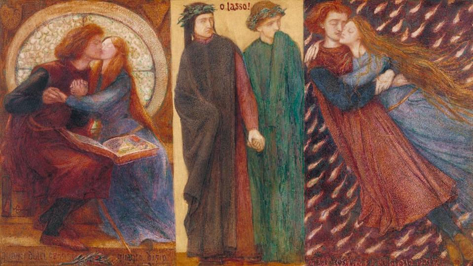 """<span class=""""caption"""">Dante Gabriel Rossetti, Paolo and Francesca da Rimini, 1855.</span> <span class=""""attribution""""><a class=""""link rapid-noclick-resp"""" href=""""https://www.tate-images.com/preview.asp?image=N03056"""" rel=""""nofollow noopener"""" target=""""_blank"""" data-ylk=""""slk:Tate Gallery"""">Tate Gallery</a></span>"""