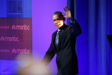 U.S. President Barack Obama arrives for the taping of an MSNBC/Telemundo town hall discussion on immigration at Florida International University in Miami, February 25, 2015. REUTERS/Jonathan Ernst