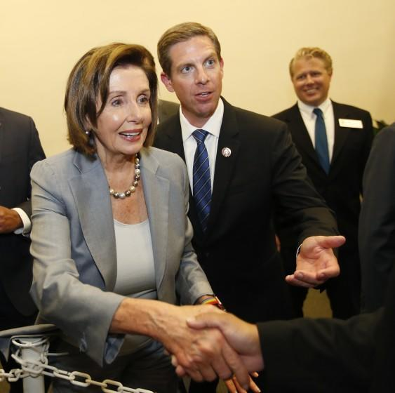 At a community event on Oceanside on November 4, 2019, Speaker of the House Nancy Pelosi greeted supporters after speaking with Congressman Mike Levin.