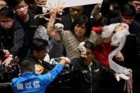 Pork intestines are seen during a scuffle in the parliament in Taipei