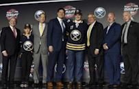 June 23, 2017; Chicago, IL, USA; Casey Mittelstadt poses for photos after being selected as the number eight overall pick to the Buffalo Sabres in the first round of the 2017 NHL Draft at the United Center. Mandatory Credit: David Banks-USA TODAY Sports