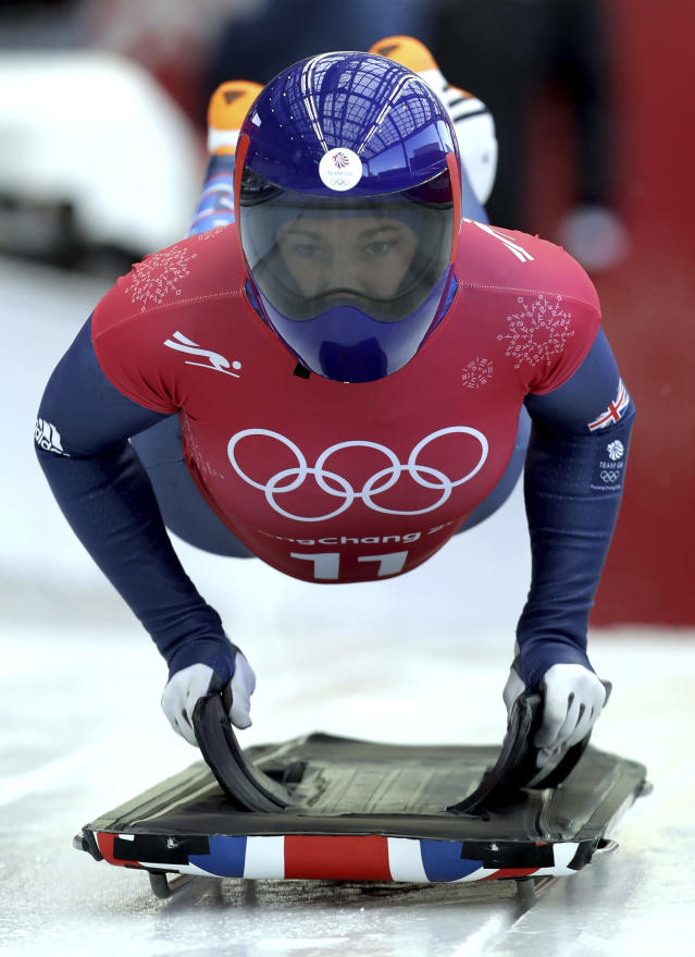 <p>Lizzy Yarnold of Britain starts a women's skeleton training run at the 2018 Winter Olympics in Pyeongchang, South Korea, Tuesday, Feb. 13, 2018. (AP Photo/Michael Sohn) </p>