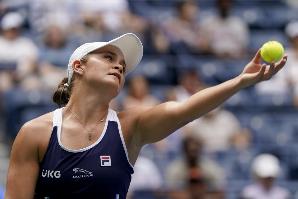 Ashleigh Barty, of Australia, serves to Vera Zvonareva, of Russia, during the first round of the US Open tennis championships, Tuesday, Aug. 31, 2021, in New York. (AP Photo/John Minchillo)