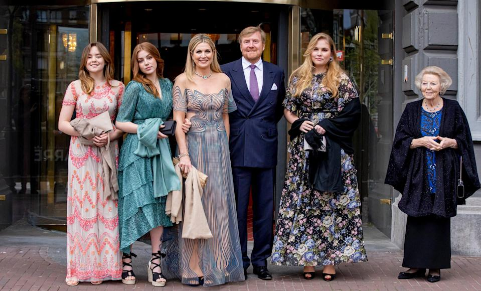 Queen Maxima and King Willem-Alexander with their daughters (l-r) Princess Arianne, Princess Alexia and Princess Amalia, and the King's mother, the former queen Beatrix - Wireimage
