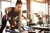 """<p>If you've been <a href=""""https://www.prevention.com/fitness/fitness-tips/a26765994/benefits-of-lifting-weights/"""" rel=""""nofollow noopener"""" target=""""_blank"""" data-ylk=""""slk:lifting moderately heavy weights"""" class=""""link rapid-noclick-resp"""">lifting moderately heavy weights</a> but are still looking to drop belly fat, it's time to pick up the intensity by using heavier weights and cutting down on rest time between reps, says <a href=""""https://stories.exercise.com/author-tyler-spraul/"""" rel=""""nofollow noopener"""" target=""""_blank"""" data-ylk=""""slk:Tyler Spraul"""" class=""""link rapid-noclick-resp"""">Tyler Spraul</a>, CSCS, a certified strength and conditioning specialist and the head trainer at <a href=""""http://exercise.com/"""" rel=""""nofollow noopener"""" target=""""_blank"""" data-ylk=""""slk:Exercise.com"""" class=""""link rapid-noclick-resp"""">Exercise.com</a>. """"Lifting heavy is where you see more an afterburn effect. Your body continues to burn calories even after you leave the gym,"""" Spraul says. Just be sure that your technique doesn't suffer as you increase your weight, which can lead to injury. If you're new to strength training, this <a href=""""https://www.prevention.com/fitness/workouts/g25654172/15-minute-full-body-workout/"""" rel=""""nofollow noopener"""" target=""""_blank"""" data-ylk=""""slk:15-minute total-body workout"""" class=""""link rapid-noclick-resp"""">15-minute total-body workout</a> is a great place to start.</p>"""