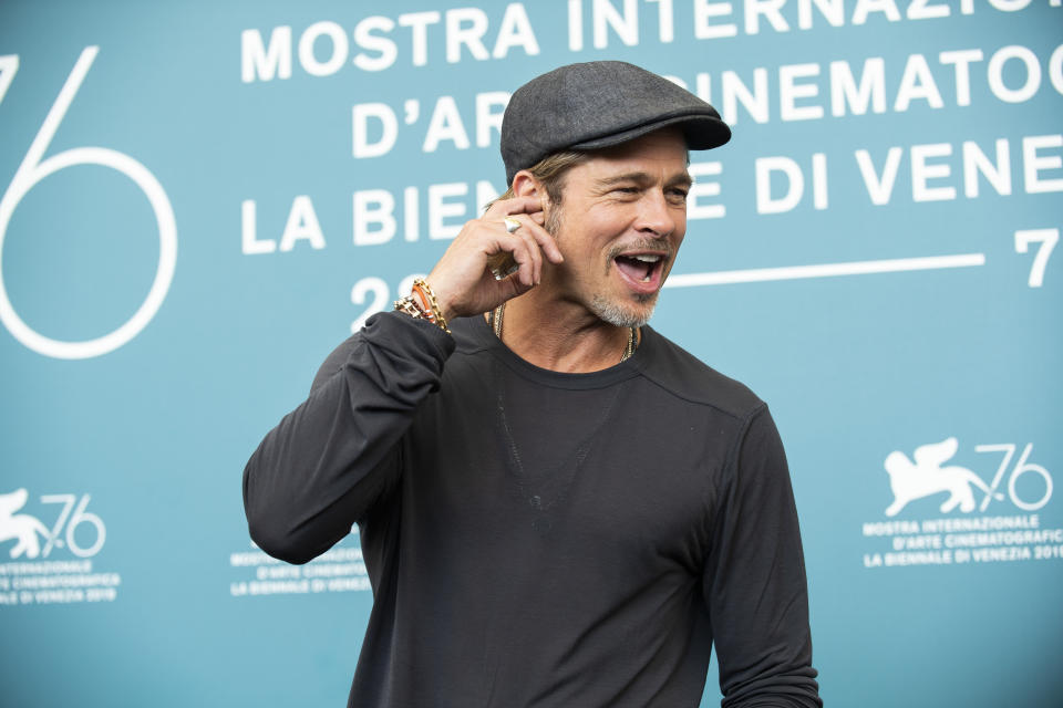 Actor Brad Pitt poses for photographers at the photo call for the film 'Ad Astra' at the 76th edition of the Venice Film Festival in Venice, Italy, Thursday, Aug. 29, 2019. (Photo by Arthur Mola/Invision/AP)