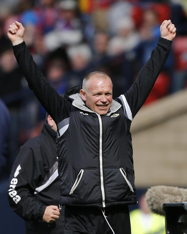 "Football - Falkirk v Inverness Caledonian Thistle - William Hill Scottish FA Cup Final - Hampden Park, Glasgow, Scotland - 30/5/15 Inverness Caledonian Thistle manager John Hughes celebrates after winning the William Hill Scottish FA Cup Final Reuters / Russell Cheyne Livepic EDITORIAL USE ONLY. No use with unauthorized audio, video, data, fixture lists, club/league logos or ""live"" services. Online in-match use limited to 45 images, no video emulation. No use in betting, games or single club/league/player publications. Please contact your account representative for further details."