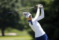 Nelly Korda hits a tee shot on the 14th hole during the final round of the Meijer LPA Classic golf tournament, Sunday, June 20, 2021, in Grand Rapids, Mich. (AP Photo/Al Goldis)