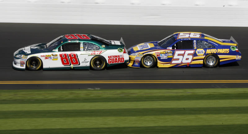 Drivers Dale Earnardt, Jr. (88) and Martin Truex, Jr. (56) test drafting techniques during practice for Sunday's NASCAR Daytona 500 auto race at Daytona International Speedway in Daytona Beach, Fla., Saturday, Feb. 19, 2011. (AP Photo/Glenn Smith)