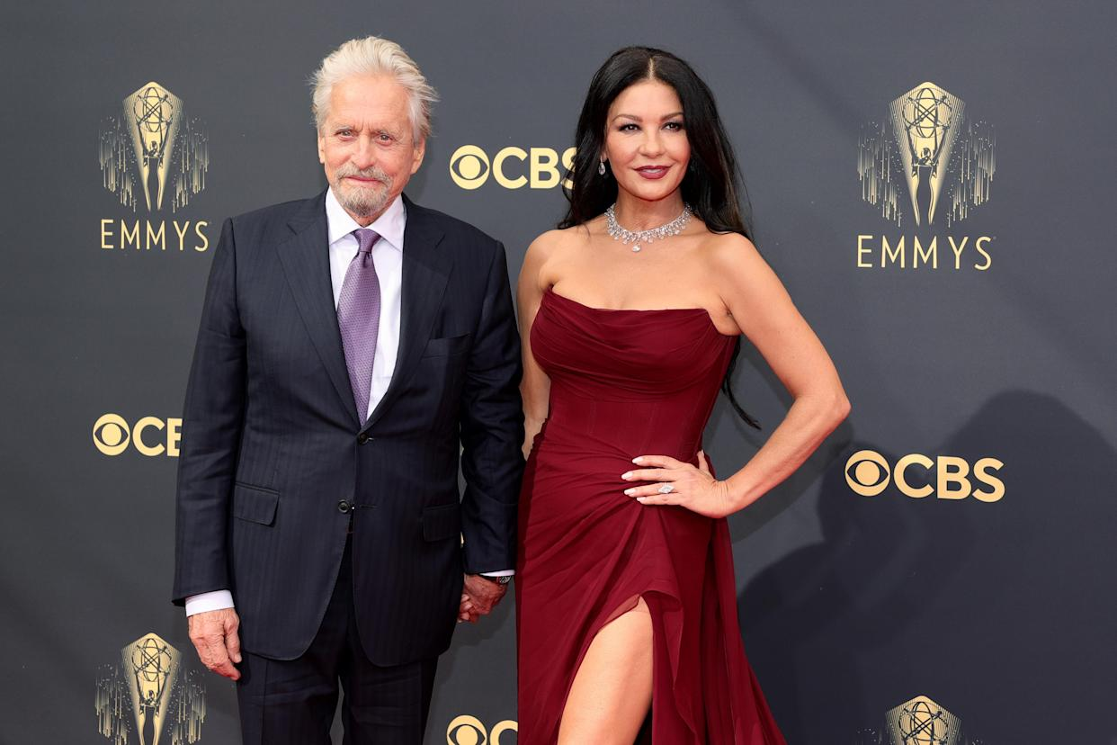 Catherine Zeta-Jones with husband Michael Douglas at the 73rd Primetime Emmy Awards on 19 September, 2021 in Los Angeles, California. (Rich Fury/Getty Images)