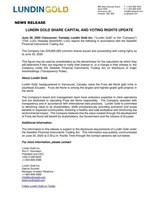 Lundin Gold Share Capital and Voting Update (CNW Group/Lundin Gold Inc.)