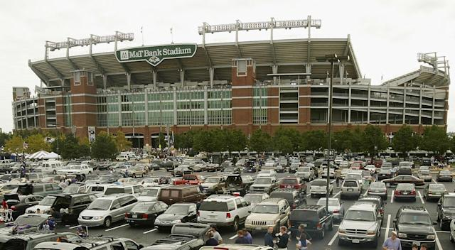 Police announced that a dead body was found in a port-a-potty in the M&T Bank Stadium parking lot. (Photo by Doug Pensinger/Getty Images/file)