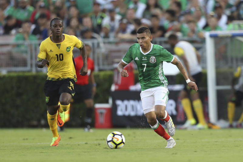 PASADENA, US - JULY 23: Orbelin Pineda of Mexico drives the ball during a match between Mexico and Jamaica as part of CONCACAF Gold Cup Semifinal at Rose Bowl Stadium on July 23, 2017 in Pasadena, California, US. (Photo by Omar Vega/LatinContent via Getty Images)