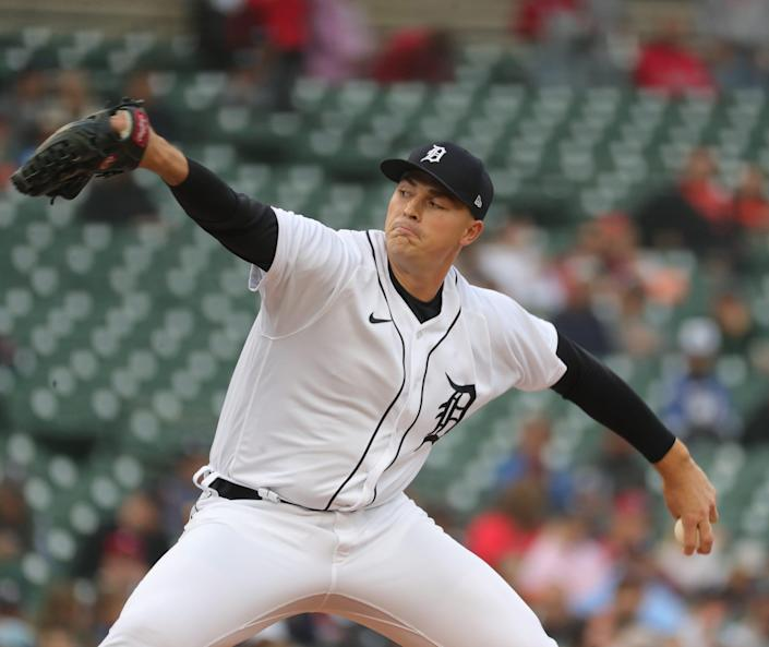Detroit Tigers starter Tarik Skubal (29) pitches against the St. Louis Cardinals during first inning action on Tuesday, June 22, 2021, at Comerica Park in Detroit.