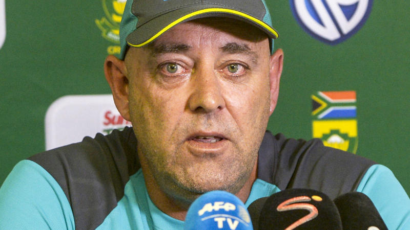 Darren Lehmann, pictured here resigning as Australia's national cricket coach in 2018.