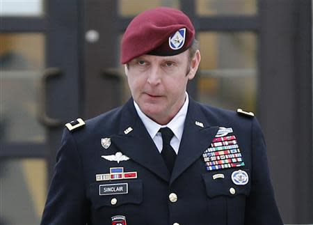 U.S. Army Brigadier General Jeffrey Sinclair leaves the courthouse at Fort Bragg in Fayetteville, North Carolina in this file photo taken March 4, 2014. REUTERS/Ellen Ozier/Files