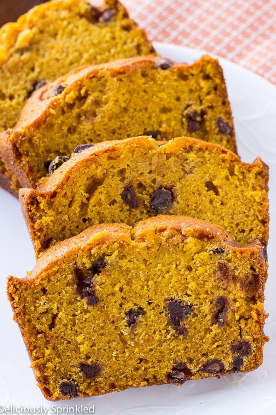 """<p>This simply delicious pumpkin bread will be a hit with anyone who has a sweet tooth. </p><p><strong>Get the recipe at <a href=""""http://deliciouslysprinkled.com/pumpkin-chocolate-chip-bread/"""" rel=""""nofollow noopener"""" target=""""_blank"""" data-ylk=""""slk:Deliciously Sprinkled"""" class=""""link rapid-noclick-resp"""">Deliciously Sprinkled</a>. </strong></p>"""