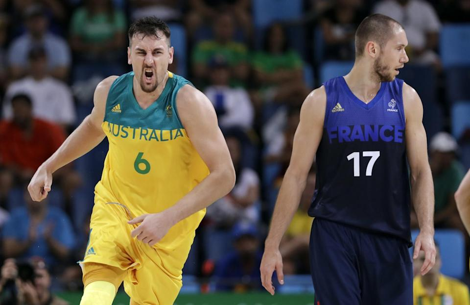 Andrew Bogut has helped lead Australia to wins over France and Serbia. (AP)