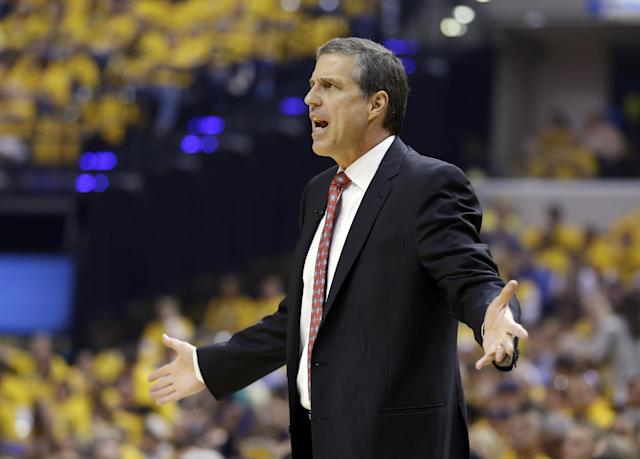 Washington Wizards head coach Randy Wittman argues a call during the first quarter of game 1 of the Eastern Conference semifinal NBA basketball playoff series against the Indiana Pacers in Indianapolis, Monday, May 5, 2014(AP Photo/Michael Conroy)